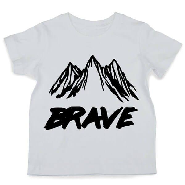 Brave - Black print on white Tee Flatlay