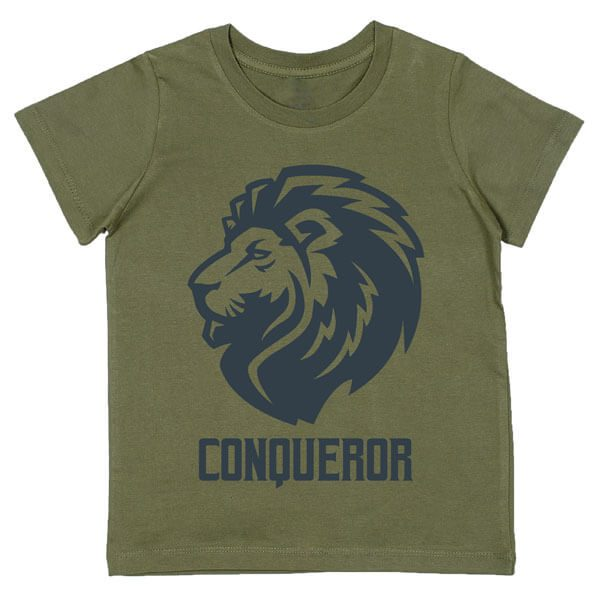 Conqueror - Charcoal grey print on Khaki Tee Flatlay