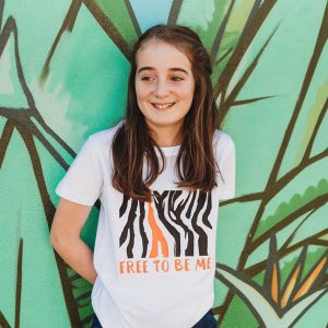 Free To Be Me - Black and orange print on White Tee