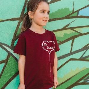 So Loved - blush pink print on burgundy tee