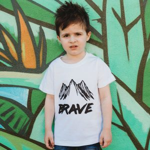 Brave - Black print on white Tee